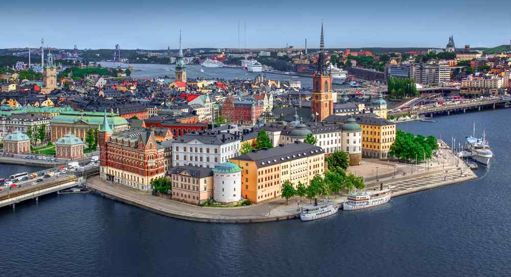 Free Self-Guided Stockholm Tour: An aerial shot of the adorable Old Town of Stockholm is one of the must-see attractions in Stockholm.