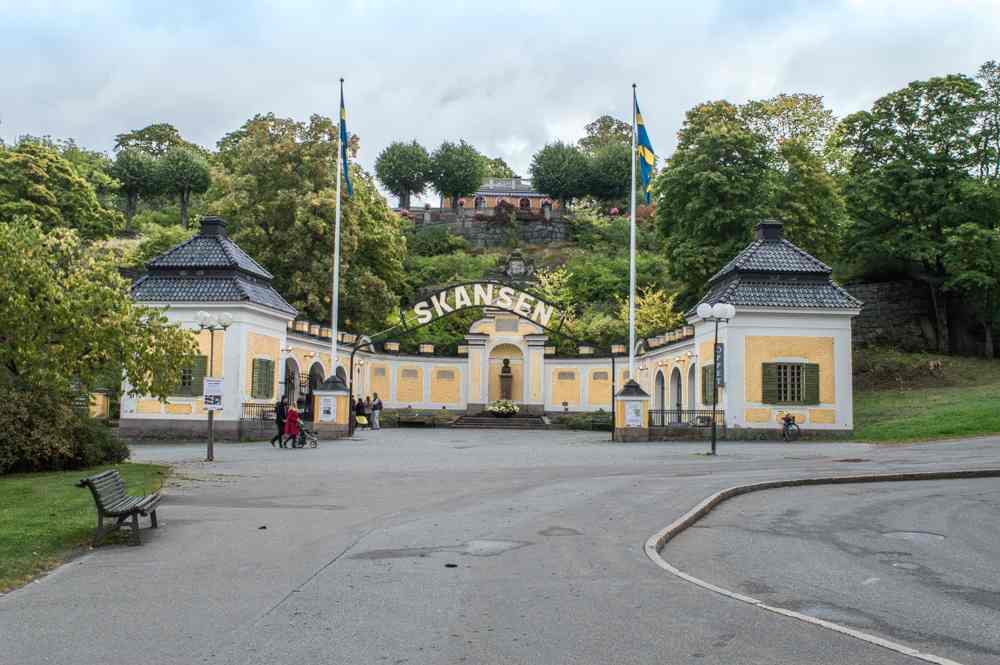 Stockholm sightseeing: Entrance of Skansen, the world's first open-air museum which is one of the best things to see when spending a long weekend in Stockholm.