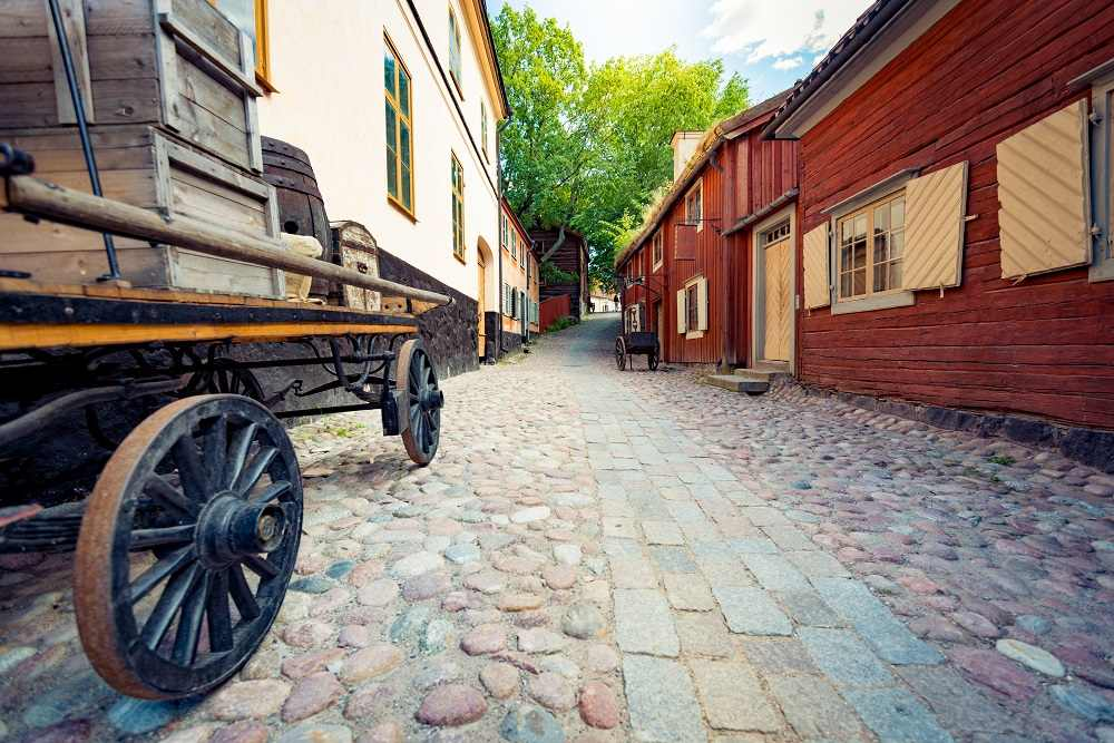 What to do in Stockholm: Traditional cottages in the Skansen Open-Air Museum are one of the must-see attractions when spending 3 days in Stockholm.