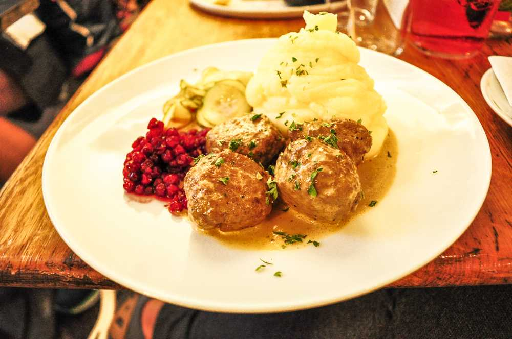 What to eat in Stockholm: Swedish meatballs are one of the foods that you must try when visiting Stockholm for three days.
