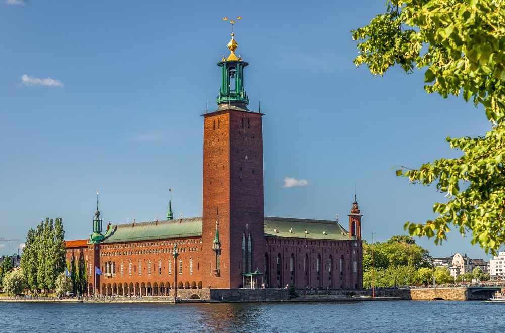 One Day in Stockholm: Exterior of the red-brick Stockholm City Hall, one of the must-see sights in Stockholm.