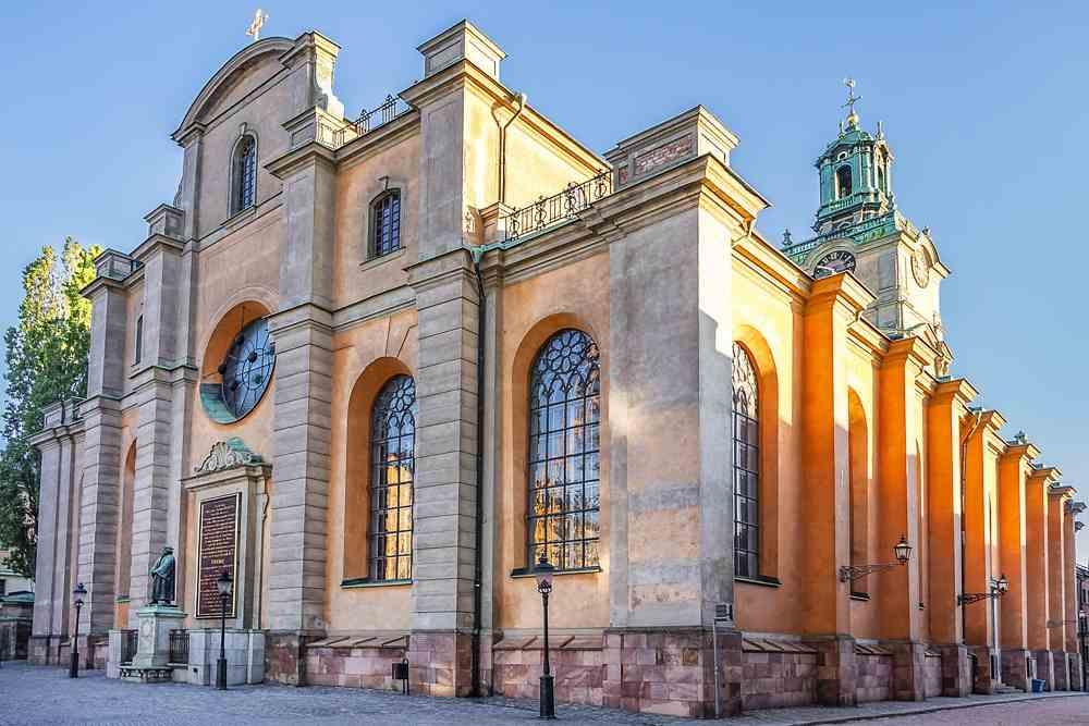 Visit Stockholm: The Baroque exterior of the Stockholm Cathedral, one of the best things to see when sightseeing for one day in Stockholm.