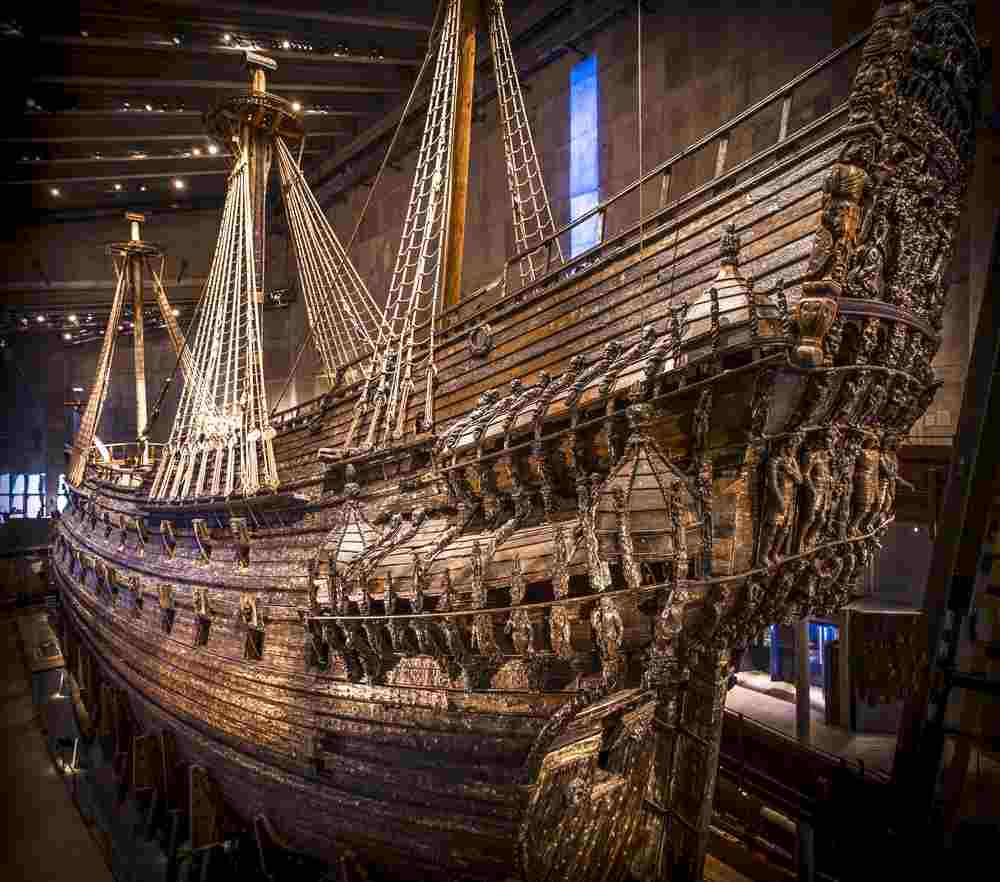 Stockholm Attractions: The excellent Vasa Museum is home to the fabulously restored 17th century 'Vasa' warship that features replicas of human faces, lion masks, naked cherubs, sea monsters, and other carvings. It is the most visited museum in Scandinavia and a must-see attraction when spending 24 hours in Stockholm. C: Noyan Yilmaz/shutterstock.com