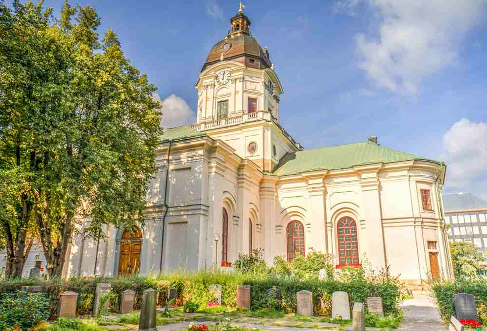 Free Self-Guided Stockholm Walking Tour: The Neoclassical Adolf Fredrik Church is one of the most prominent churches in Stockholm.