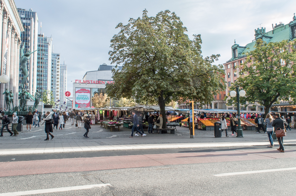 Free Self-Guided Stockholm Walking Tour: The bustling Hötorget market square is one Stockholm's main landmarks.