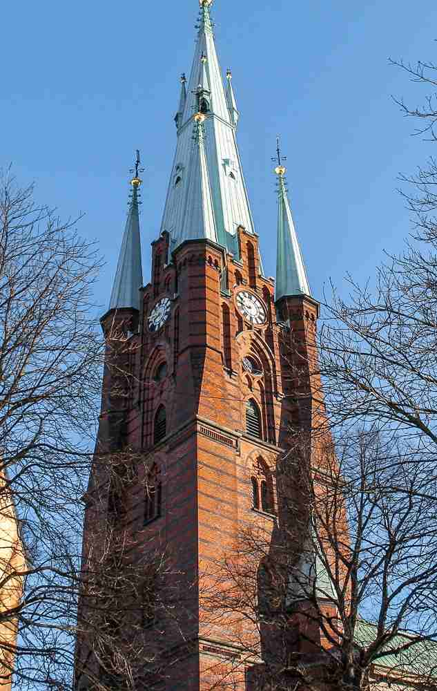 Free Self-Guided Stockholm Walking Tour: Exterior view of the attractive Klara Church spire.