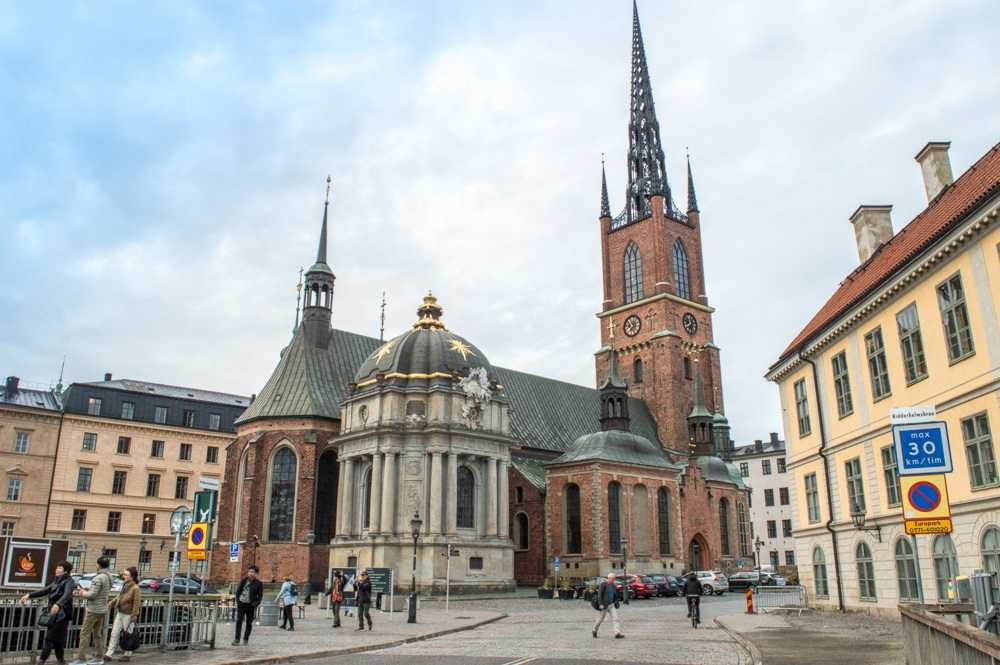 Free Self-Guided Stockholm Tour: The striking Riddarholmen Church with its captivating cast iron steeple is one of the recognizable sights in Stockholm.