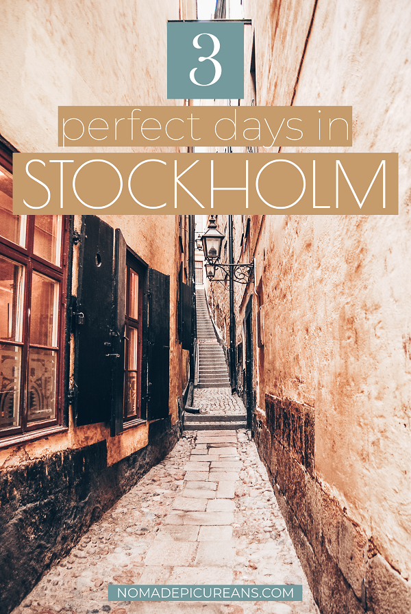 Pinterest image for 3 days in Stockholm with text overlay.