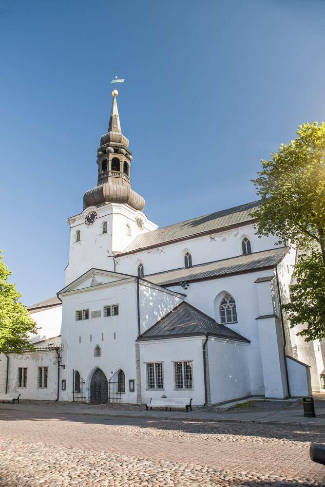 Tallinn churches: The beautiful Cathedral of St. Mary the Virgin features an austere whitewashed Gothic exterior that dates from the 14th century.