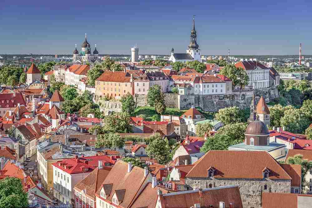 Tallinn Walking Tour: Aerial panorama of the picturesque medieval old town of Tallinn.