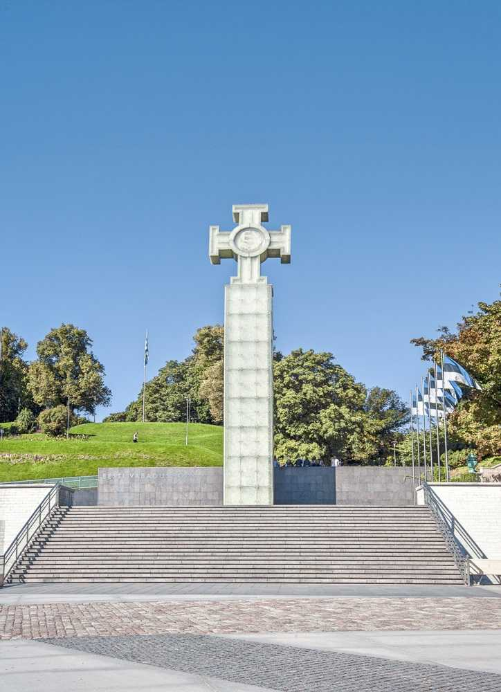 What to see in Tallinn: The Freedom Monument comprises of a large cross mounted on a 24-meter high pillar of dimpled glass. It was erected to commemorate the struggles of the Estonian independence movement in 1918-1920.