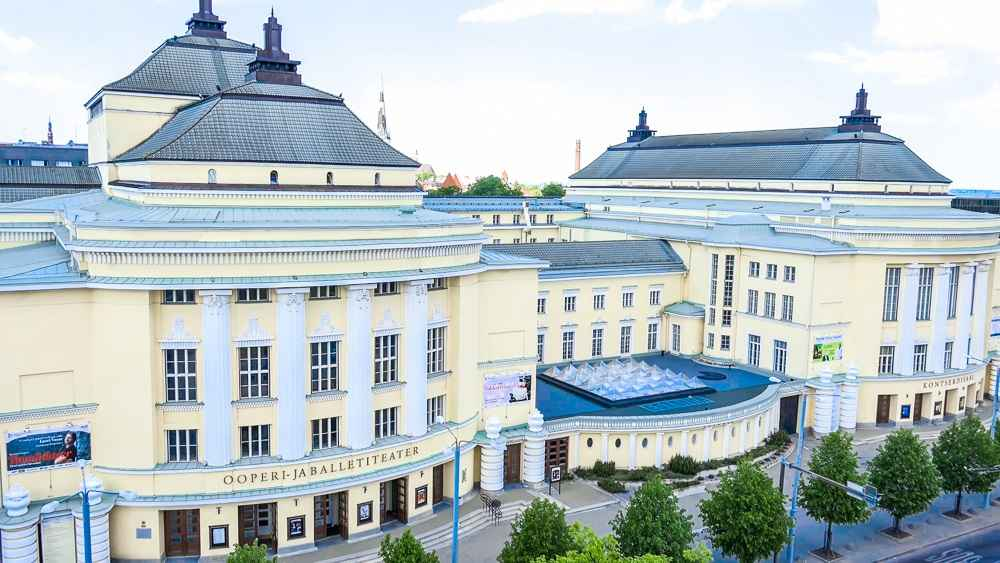 What to see in Tallinn: The massive Estonian Opera House building is one of the best places to visit when sightseeing in Tallinn.