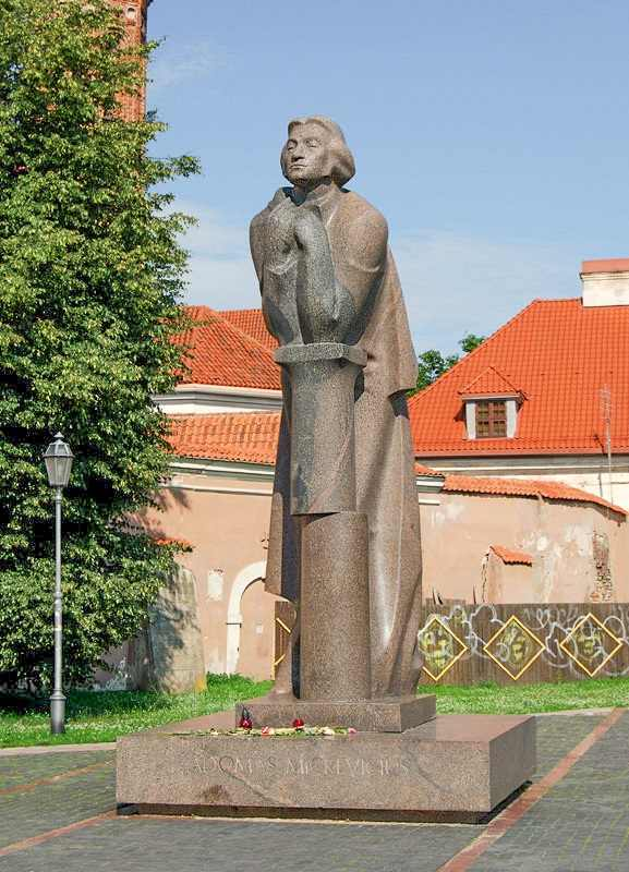 Free Self-Guided Vilnius Walking Tour: The Mickiewicz Monument is dedicated to the famous poet Adam Mickiewicz and is one of the most well known sights in Vilnius.