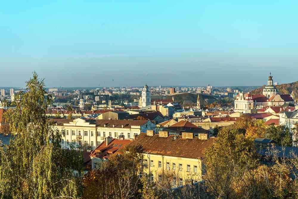 Vilnius Self Guided Walking Tour: Aerial panorama of the Old Town, one of the must-see sights in Vilnius.