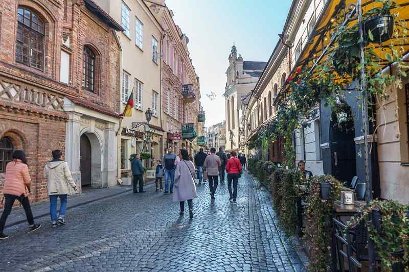 Free Self-Guided Vilnius Walking Tour: The lovely cobblestoned Pilies Street is one of the must-see sights in the Vilnius Old Town.