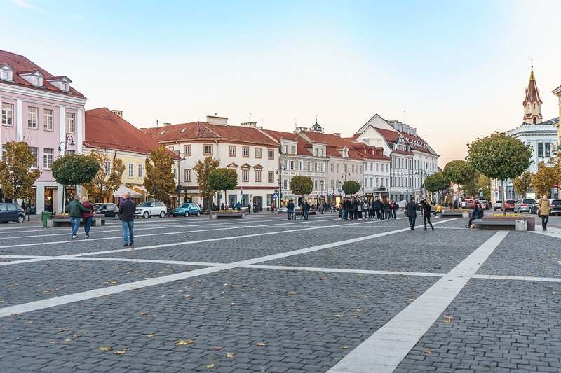 What to see in Vilnius: The bustling Town Hall Square in the heart of the Old Town is one of the must-see sights when taking a Vilnius walking tour.