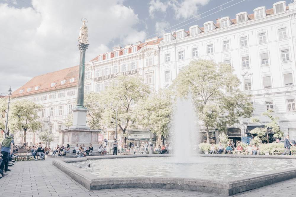 The fountain at Eisernes Tor in Graz on a warm spring day.