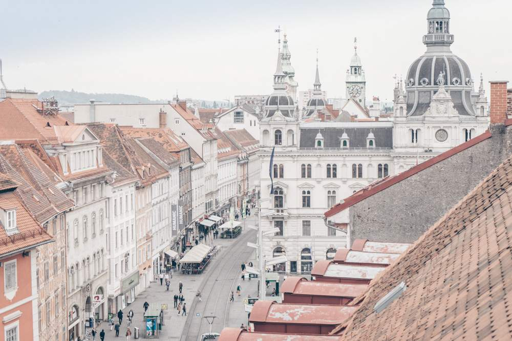 A rooftop view of Graz and its main square.