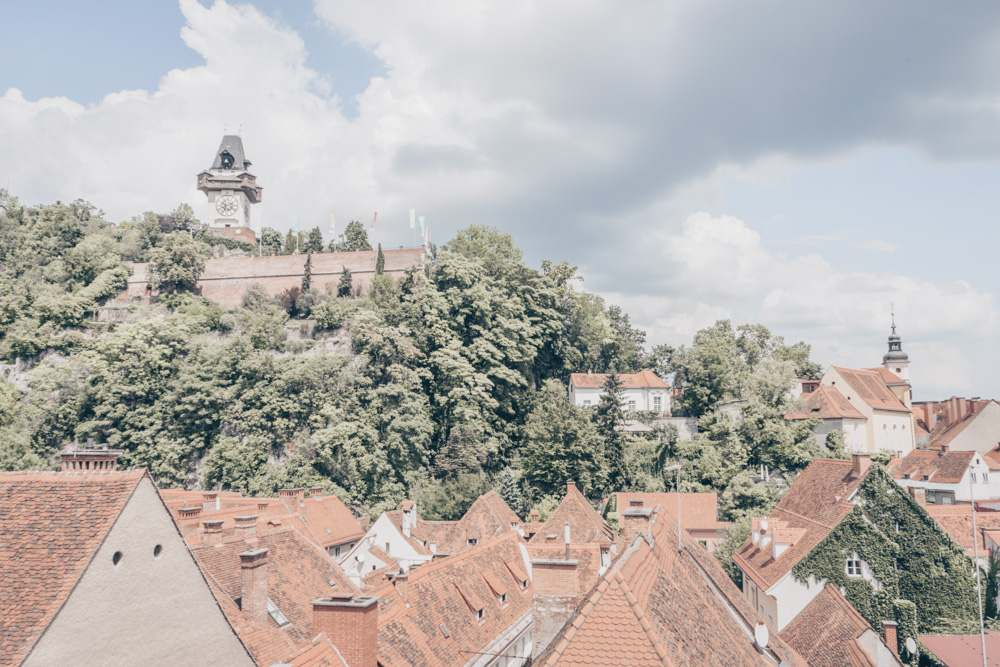 The terrace of Freiblick Cafe in Graz offers a splendid view of the old town, as well as Schlossberg and Uhrturm.