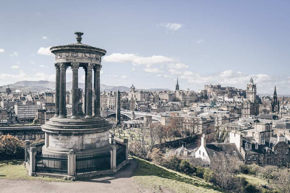 Free Self-Guided Edinburgh walking tour: Panoramic view over Edinburgh from Calton Hill.