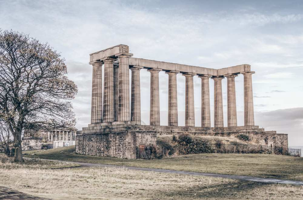 Must-see attractions in Edinburgh: View of the Greek-style National Monument of Scotland.