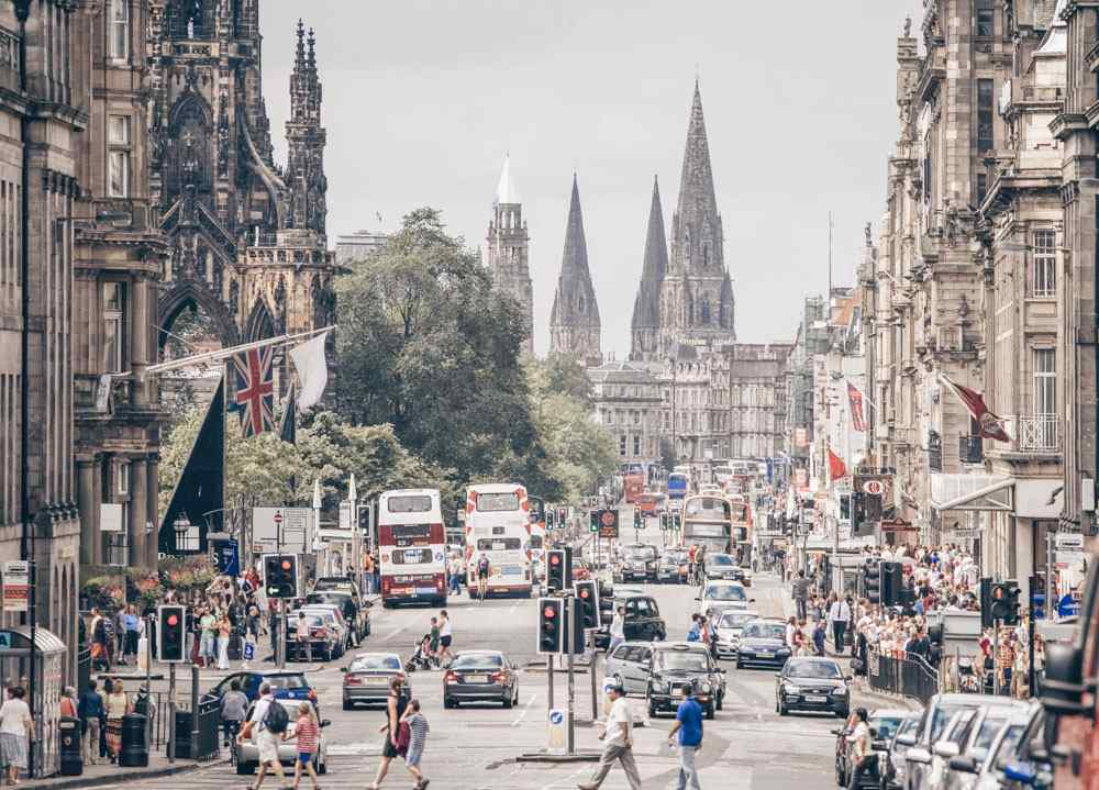 Shopping in Edinburgh: View of Princes Street, Edinburgh's principal shopping street.
