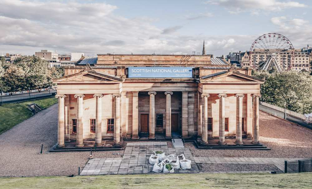 Edinburgh Museums: Panoramic view of The Scottish National Gallery that houses the Scottish national collection of fine art including Scottish and international art.
