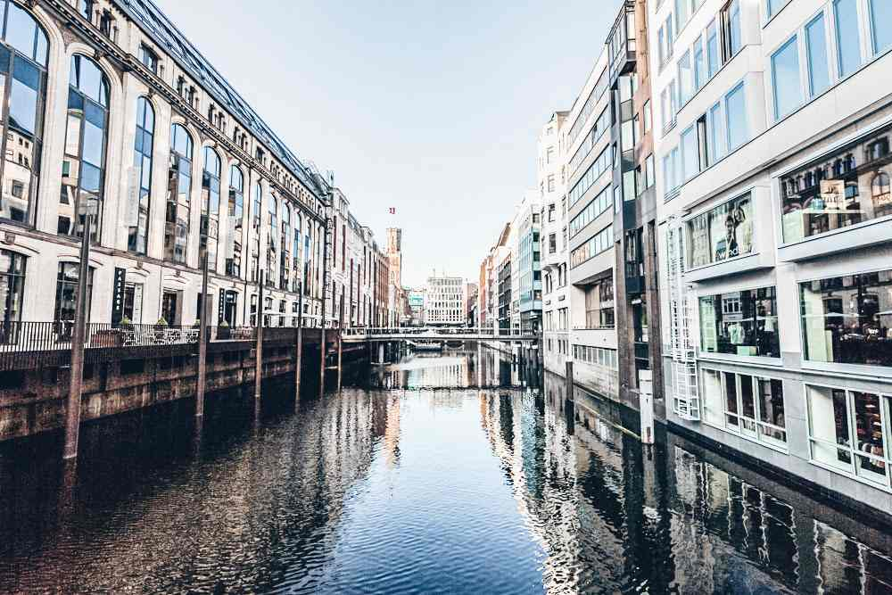 What to see in Hamburg: The beautiful Bleichenfleet is one of the several canals along this self-guided walking tour of Hamburg. C: Oscity/shutterstock.com