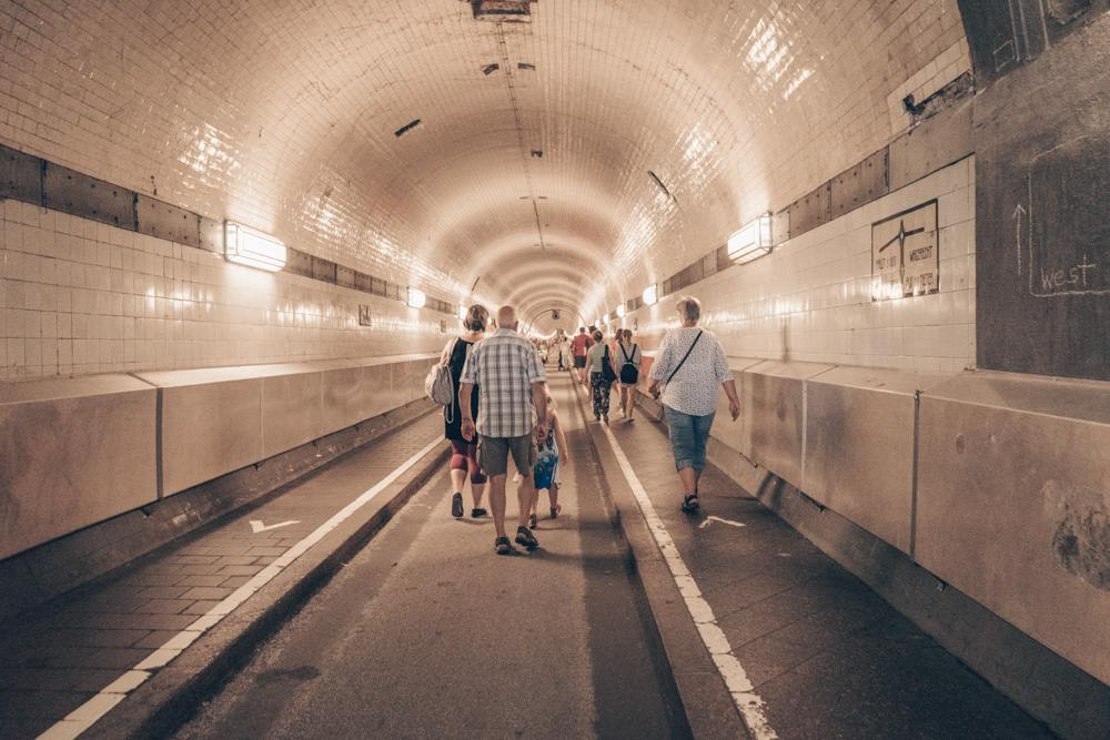 What to see in Hamburg: View of the famous Old Elbtunnel, longest river tunnel in the world and one of the highlights of this free self-guided Hamburg walking tour.