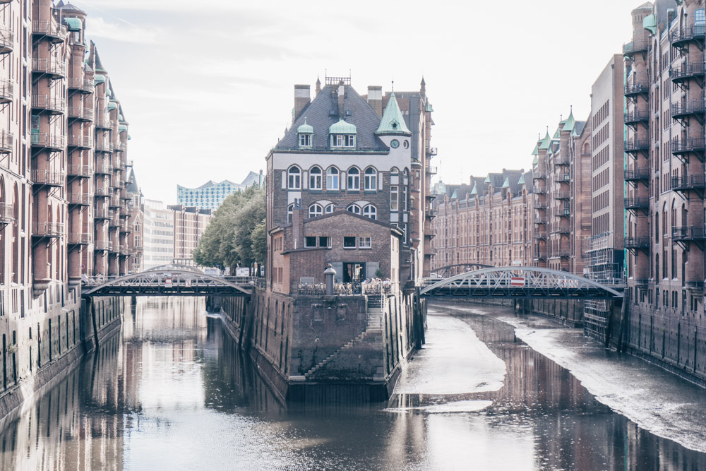 Things to do in Hamburg: The view of the Wasserschloss castle from Poggenmühlen bridge is one of the best instagrammable locations in Hamburg.
