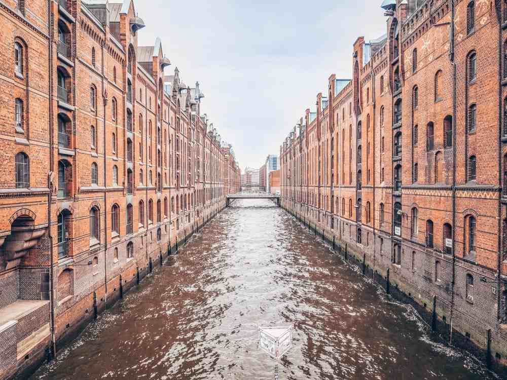 Free Self-guided Hamburg Walking Tour: View of the Speicherstadt, a UNESCO World Heritage site and one of the best things to see in Hamburg.