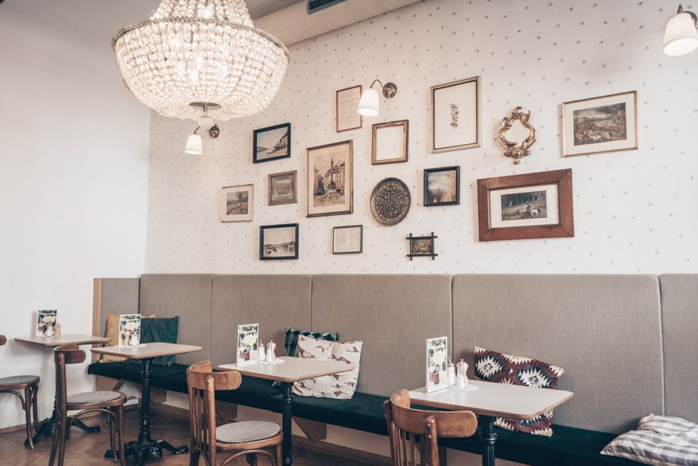 The interiors of Cafe Fotter in Graz are a mix of traditional materials and patters as well as modern shapes and forms.