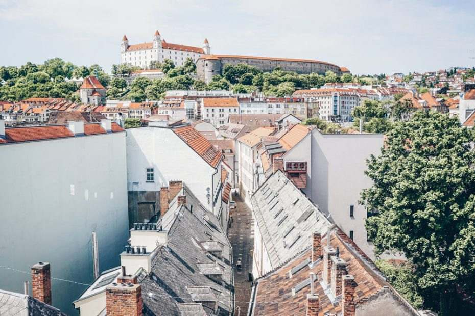 Bratislava viewpoints: The panoramic view from the top of Michael's Gate is one of the best things to do in Bratislava.