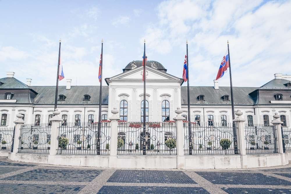 Bratislava Palaces: The elegant Baroque and Rococo style Grassalkovich Palace which is home to the President of Slovakia.