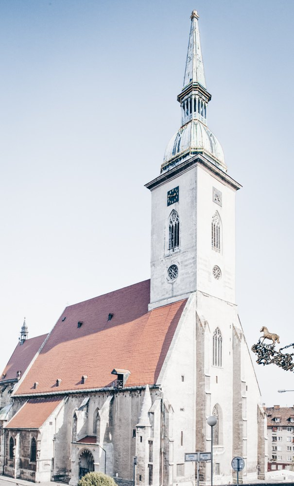 Free Bratislava Walking Tour: View of the huge steeple of the Gothic-style St. Martin's Cathedral.