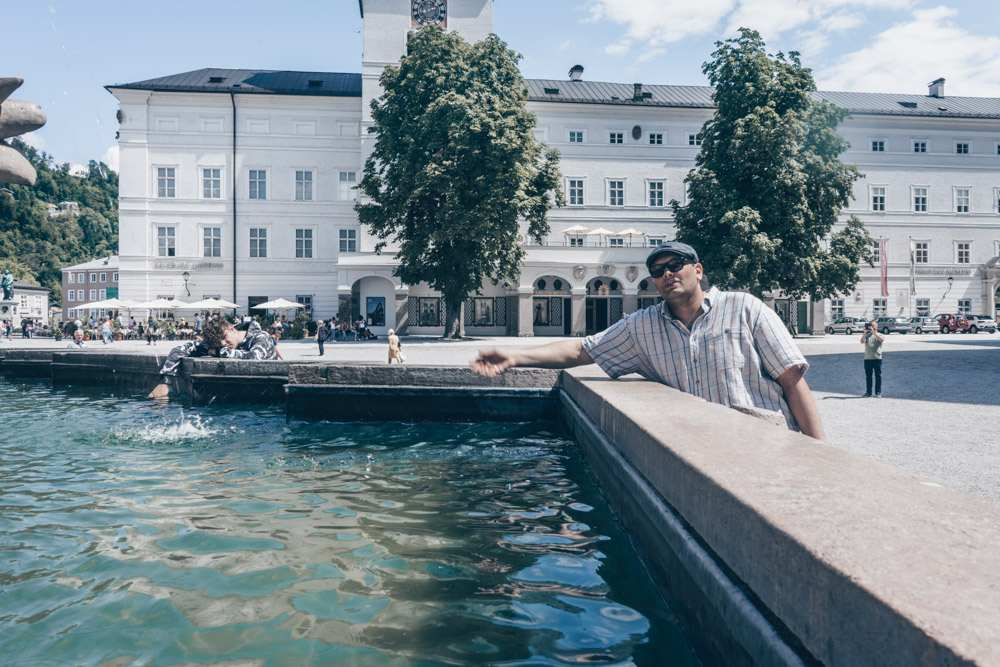 Mihir recreating a scene from the Sound of Music in Salzburg.