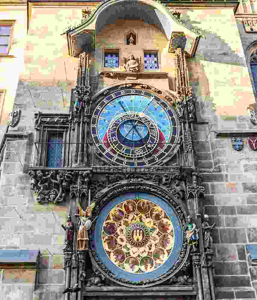 What to see in Prague: View of the famous Prague Astronomical Clock, the best-preserved astronomical clock in existence known for displaying Babylonian time, Old Bohemian time, German time, and Sidereal time.