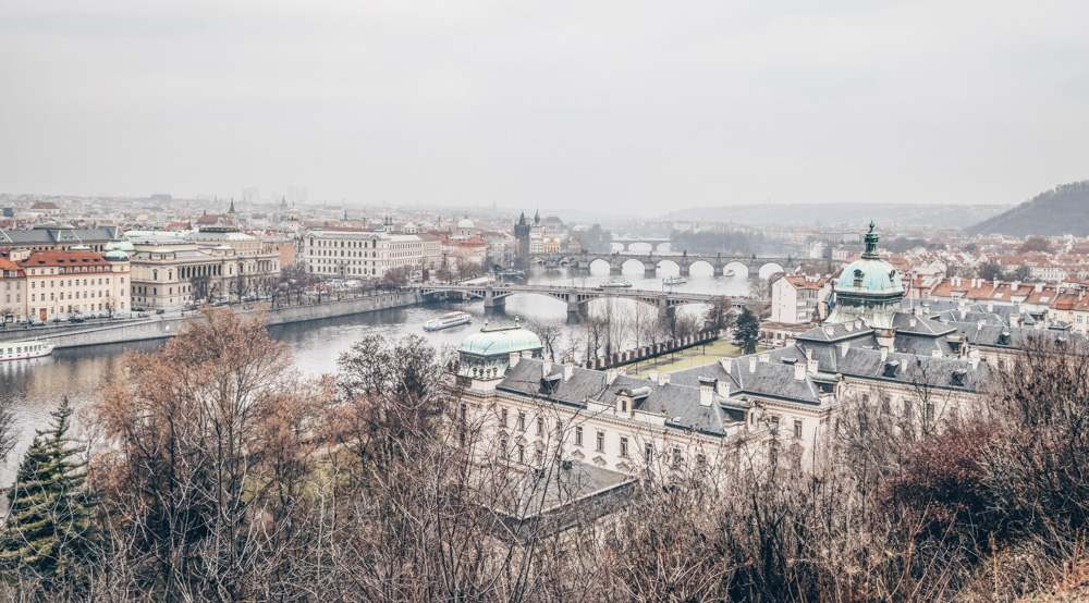 Prague viewpoints: A scenic view of Prague's bridges along the Vltava River from Letna Park.
