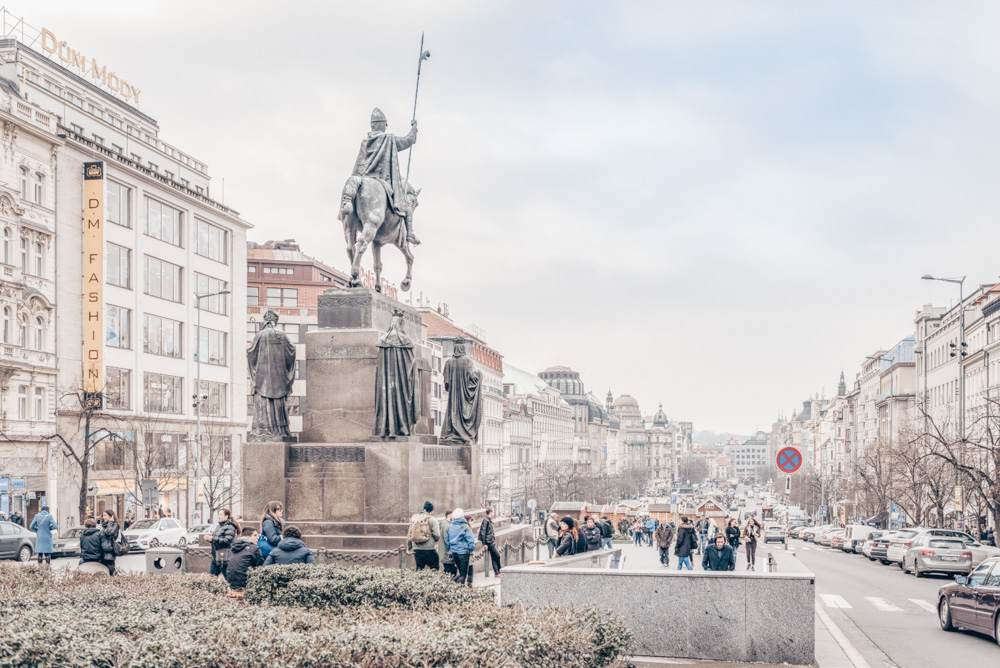 Must-see attractions in Prague: Panoramic view of the gently sloping Wenceslas Square in the New Town of Prague. PC: photosounds/shutterstock.com