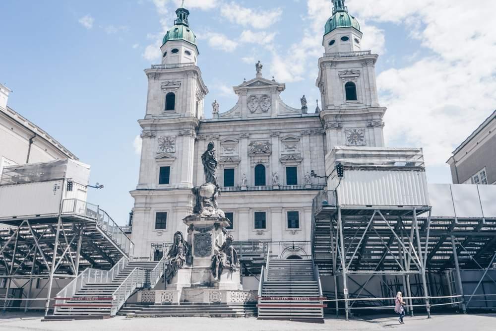 Domplatz in Salzburg gearing up for the Salzburg Festival.