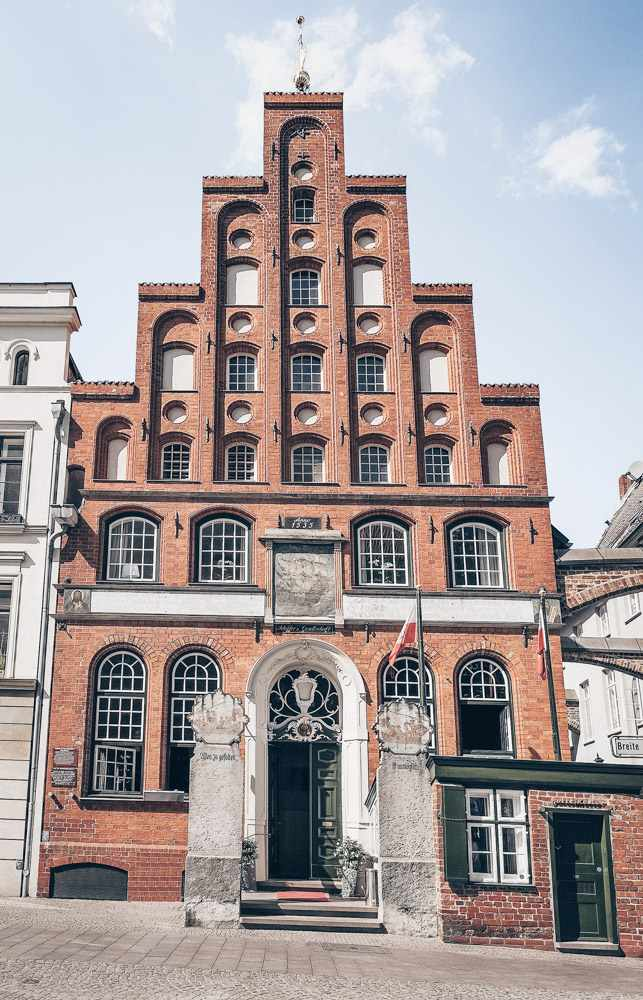 What to do in Lübeck - Exterior of the elaborate House of the Seamen's Guild (Haus der Schiffergesellschaft). PC: Andrey Lebedev/shutterstock.com