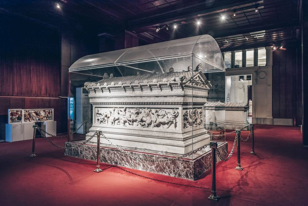 Istanbul sightseeing - Intricately carved Alexander Sarcophagus inside the Istanbul Archaeology Museum. PC: Photo Oz/shutterstock.com