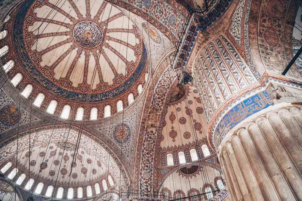 Istanbul Mosques -  Interior of the Blue Mosque decorated with turquoise İznik tiles