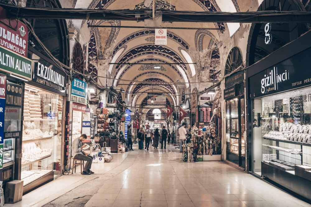 24 Hours in Istanbul - People walking on Jeweller's Street in the Grand Bazaar.