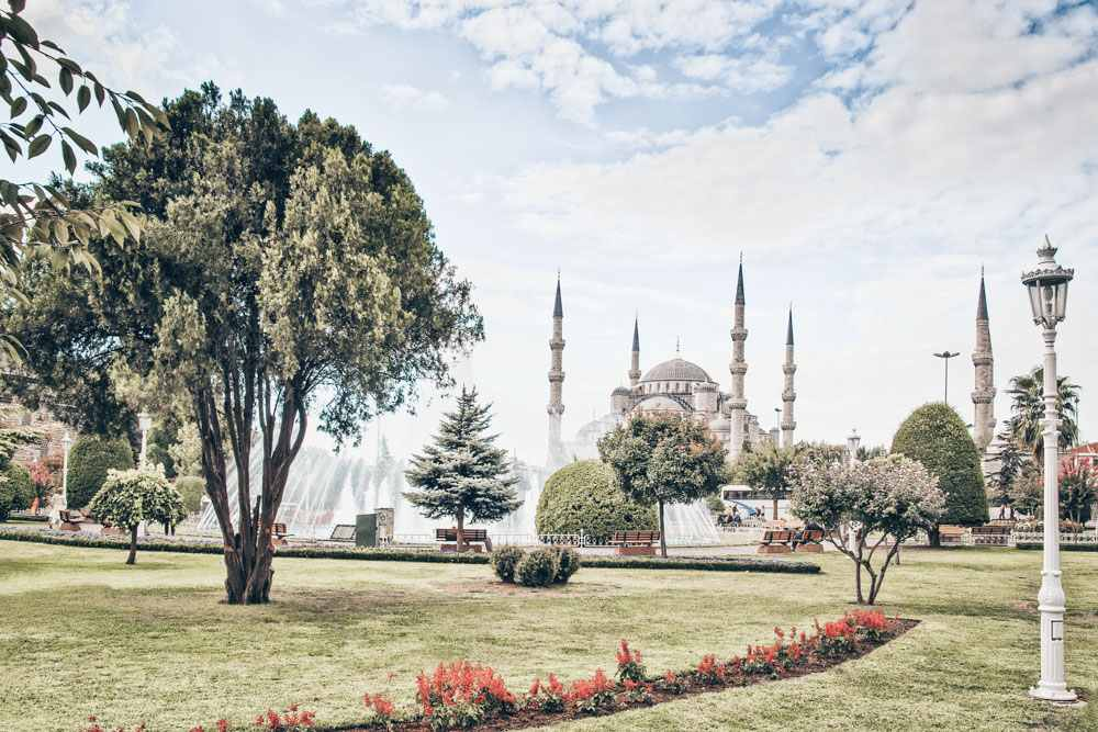 Things to do in Istanbul - Sultanahmet Park with the Blue Mosque in the background.