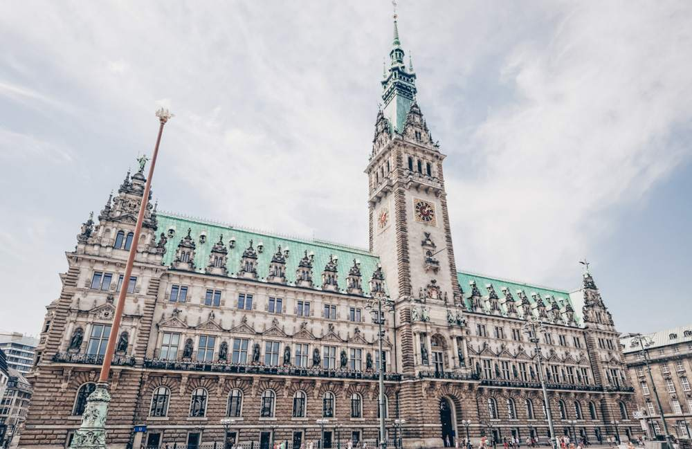 Points of interest in Hamburg - Facade of the richly decorated Neo-Renaissance Hamburg City Hall (Rathaus).