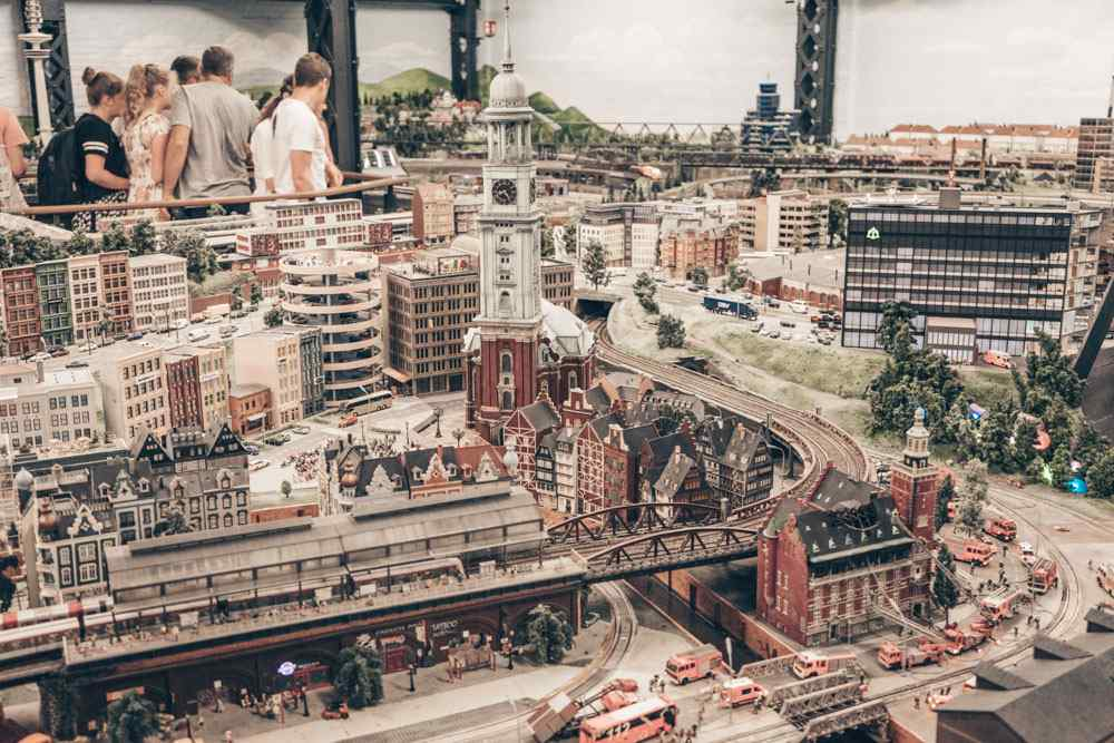What to see in Hamburg - People admiring the miniature exhibits at Miniature Wonderland