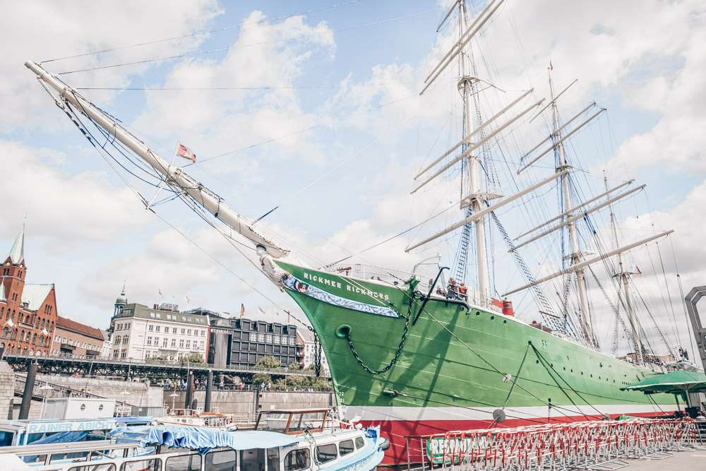 Hamburg sightseeing - The famous three-masted Rickmer Rickmers sailing ship. PC: Aleksandr Simonov/shutterstock.com