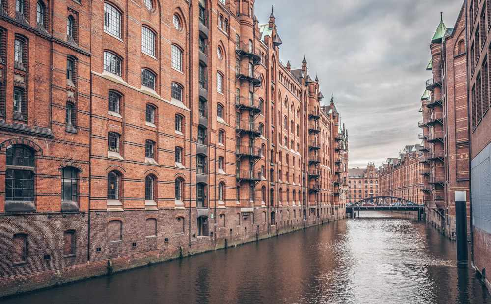 Hamburg points of interest - Red-brick Neo-Gothic warehouses in Speicherstadt.