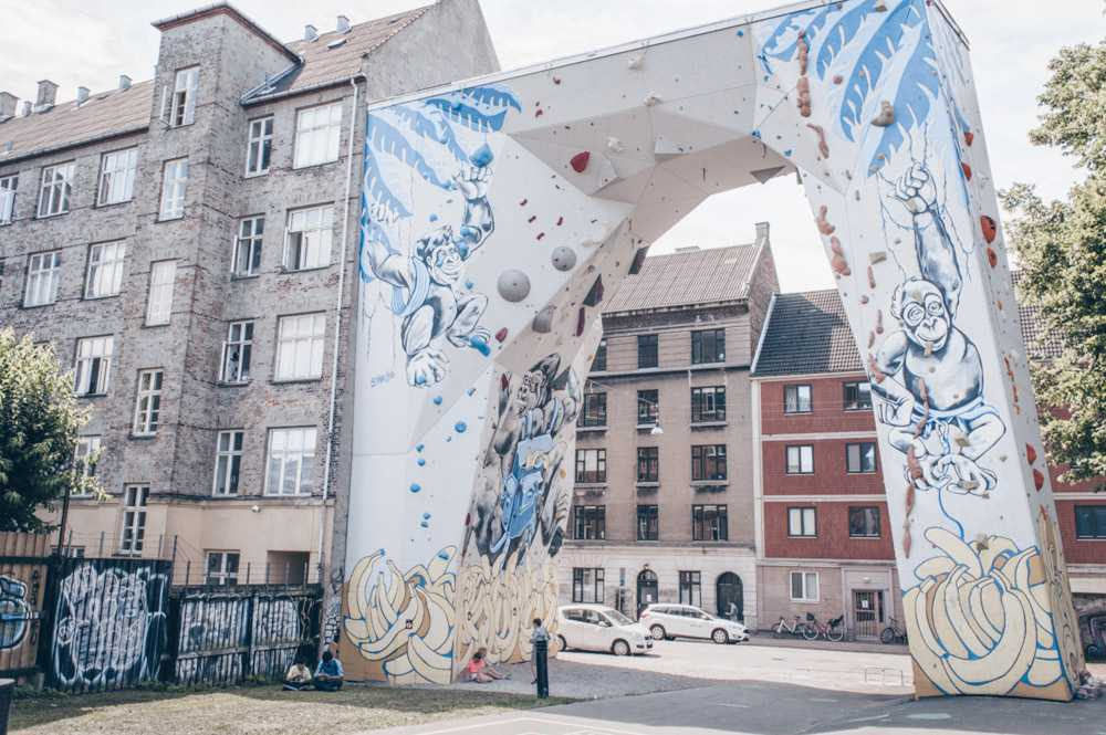 Copenhagen sightseeing: The colorful climbing wall at BaNanna Park in Nørrebro